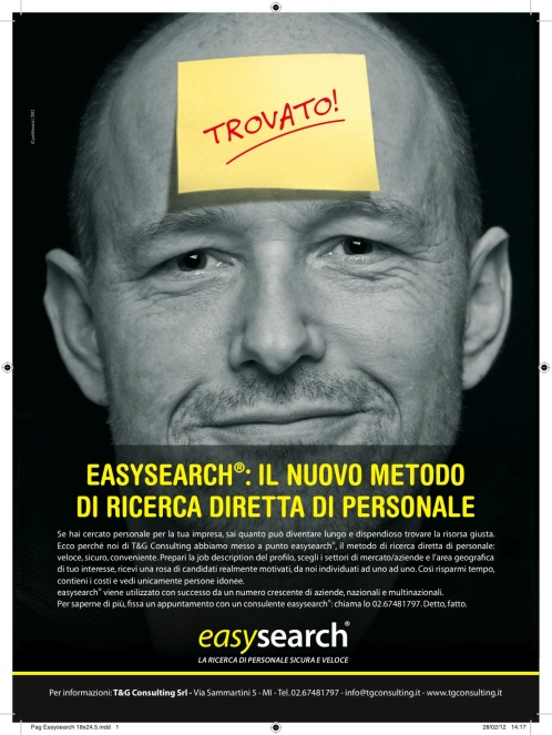Campagna stampa per easysearch, marco fossati copywriter