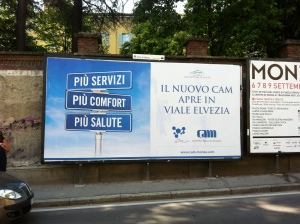 Affissione Cam Centro analisi Monza, copywriter Marco Fossati