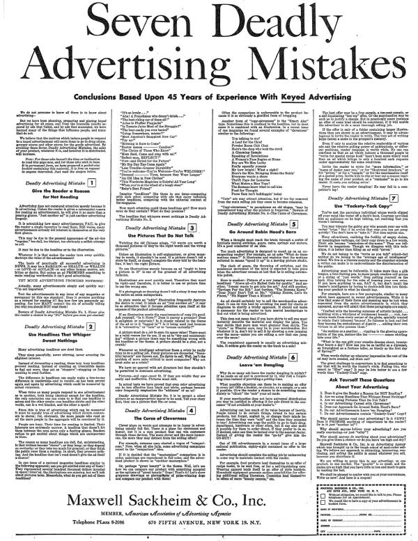 7 Deadly Advertising Mistakes Sackheim pubblicità