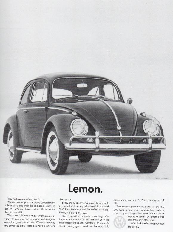 pubblicità copywriting lemon volkswagen