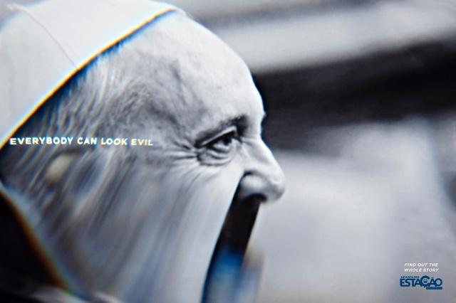 papa francesco deformato pubblicità